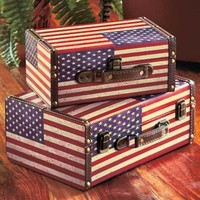 Set of 2 American Flag Cases Vintage Look Rustic Soldier Medals Storage Decor
