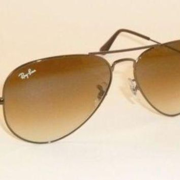Gotopfashion New Authentic Ray-Ban Aviator Sunglasses RB3025 014/51 Brown Dark Brown Gradient