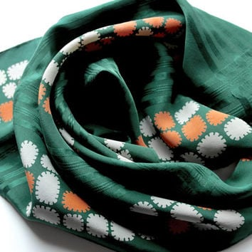 "Vintage Silk Scarf/Green Silk Scarf/Square Scarf/19"" Square Headscarf/Vintage Head Scarf/Retro 60s Scarf/Holiday Gift Idea/Vintage Scarves"