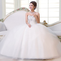 Sweet Sweetheart Neck Beading Flower Embellished Floor Length Wedding Dress For Bride