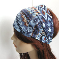 Navajo Tribal Aztec Bandana Women's Head Wrap Brown Blue Southwestern Cotton Print Headband