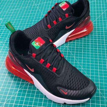 Nike Air Max 270 Fifa World Cup 2018 For Portugal In Black Red Sport Running Shoes - Best Online Sale