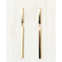 Gold Linked Bar Earrings - Earrings