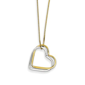 14k Yellow and White Gold Two-tone Double Heart Pendant Necklace Length 17 Inch