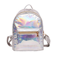 Fashion  small hologram laser backpack female student PU leisure travel daypack casual multicolor bag for school girls mochila