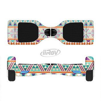 The Tan & Teal Aztec Pattern V4 Full-Body Skin Set for the Smart Drifting SuperCharged iiRov HoverBoard