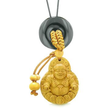 Magic Happy Buddha Car Charm or Home Decor Black Agate Lucky Coin Donut Protection Powers Amulet