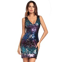 Fashion Sequin Wrap Chest Strapless Mini Dress