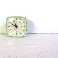 Mid Century mint green Alarm Clock .. Mad Men Style Westclox bedside clock