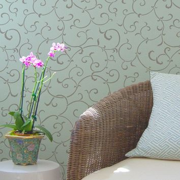 Wallpaper Wall Stencil Oriental Vine Allover Damask Stencil for DIY Wall Decor