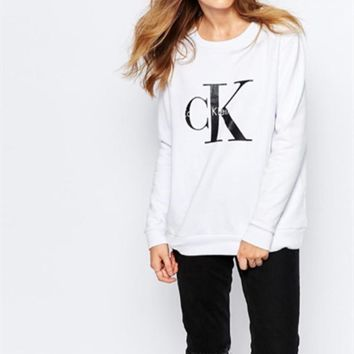 fashion calvin klein letter print round neck long sleeve pullover tops sweater-1