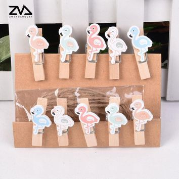 10 pcs/lot Kawaii Pink birdie Wood Clip Photo paper Clothespin Craft Clips Party decoration Clip with Hemp Rope stationery