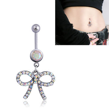 New Charming Dangle Crystal Navel Belly Ring Bling Barbell Button Ring Piercing Body Jewelry = 4804890564