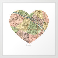 Paris Decor, Paris Map, Heart, Pink, Mint, Parisian, Dorm Decor, French, Vintage Map Wall Art Art Print by KaleidoscopePhoto