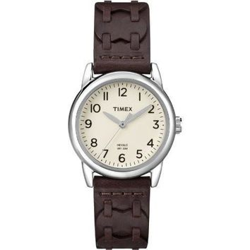 Timex Womens Casual Brown Woven Strap Watch