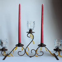 Metal Candle Holder, Vintage Votive Cup and Taper Candelabra with Acrylic Gold Leaves, Candles and Cups Not Included