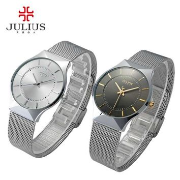 Julius Watches Men Quartz Sport Watch Top Fashion Classic Brand men watch Ultra Thin Stainless Steel Mesh Belt Relogio Masculino