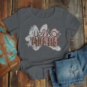 Women's Valentine's Day T Shirt Hello Valentine Shirt Graphic Tee Pretty Cute Valentines Shirts