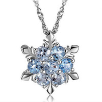 LADY BLUE CRYSTAL SNOWFLAKE - INSPIRED FROZEN FLOWER SILVER PENDANT