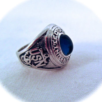 Vintage USN STERLING RING Miniature United States Navy Sterling Silver Blue Stone Class Ring Charm Size 1