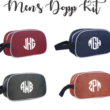 Monogrammed Men's Personalized Toiletry Dopp Kit - Travel Kit Bags - Groomsmen, Graduation, Guy Gift
