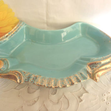 Vintage Serving Plate , Maurice Ceramic California , Tuquoise and Gold , Serving Dish