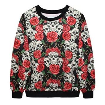 ERLKING Women's Punk Rock Printing Skull Sweatshirts