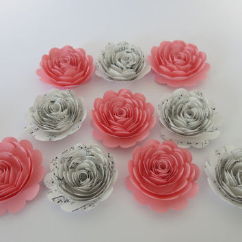 "Big Pink and Song Book Paper Roses, 10 large 3"" flowers, Girl Nursery Wall Decor, Home Essentials, Baby Shower Table Decorations, Mom gift"