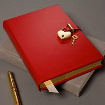 Goldtone Heart Red Locking Diary, Graphic Image - Barnes & Noble