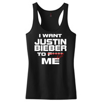 I Want Justin Bieber To Love Me Women's Racerback Tank Top