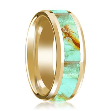 14K Yellow Gold Mens Wedding Ring Inlaid with Turquoise Stone Beveled Edge Polished Design