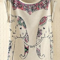 Cute Elephants Print Shirt with Flora Details Gray VCX631 from topsales