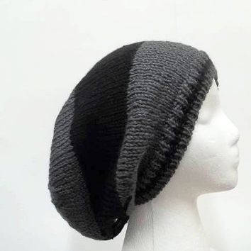 Slouch hat beanie Dark gray and black wide stripes   5286
