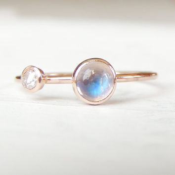 Diamond Ring, Blue Moonstone Ring, Engagement Ring, Rose Gold Ring, Baby Diamond Ring, Moonstone Jewelry, Dual Stone Ring, Stacking Ring