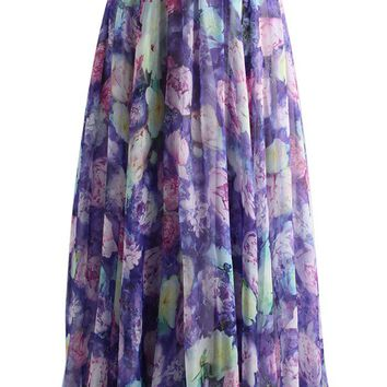 Garden Fantasy Chiffon Skirt in Purple