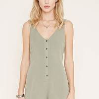 Button-Front Crepe Romper