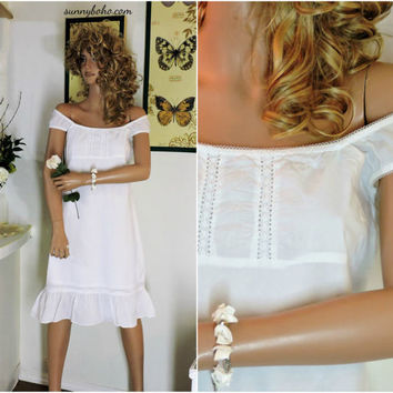 White cotton summer dress / size S / M / babydoll white cotton beach dress / white boho peasant dress  / SunnyBohoVintage