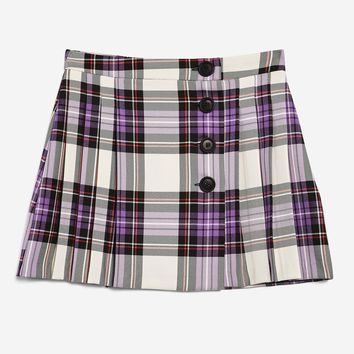 Tartan Button Kilt Skirt | Topshop