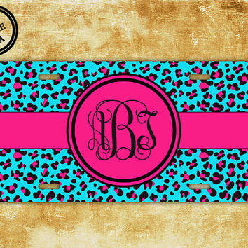 Monogram license plate - light turquoise cheetah with hot pink - front monogram license plate initials car tag vanity (1026)