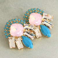 Turquoise Pink Opal Statement Earrings,Cotton Candy Turquoise Big Earrings,Trending Jewelry,Bridal Pink Turquoise Swarovski Crystal Earring