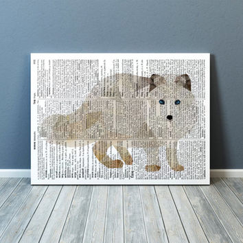 Animal print Polar fox art Nursery poster Colorful decor TOA73-1