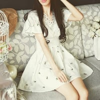 Lotus Flower Embroidered Horn Sleeve Cotton Mini Dress