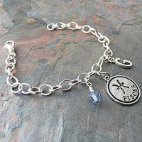 Pisces Zodiac Jewelry - Pisces Sign Gift - Pisces Birthstone - Silver Pisces Charm - Aqua Jewelry - Initial Jewelry