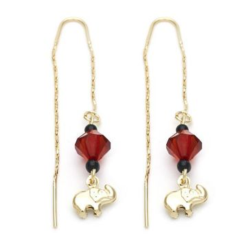 Gold Layered 02.02.0475 Long Earring, Elephant Design, with Ruby Azavache and Black Opal, Polished Finish, Golden Tone