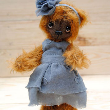 Artist Teddy Bear - OOAK Miniature collectible Teddy bear - Tori 5.9 inch. Hand sewn. Brown, beige, blue, lilac