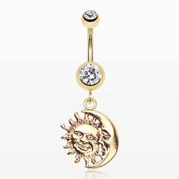 Golden Sun & Moon Union of Opposites Belly Button Ring