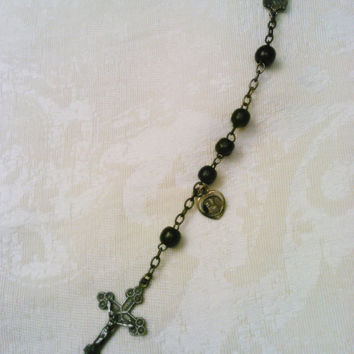 Vintage Rosary Crucifix Tiny Notre Dame Medal Necklace