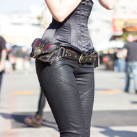 "Pocket belt ""Orthrus"" red/black leather utility belt - festival belt - fanny pack - leather utility belt - burning man - steampunk belt"