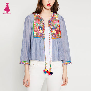 Vintage ZA Ethnic Colorful Floral Flower Embroidery Striped Cardigan Outwear Jacket Tassel Bell Beading Lacing up Casual Coat