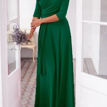 Green Draped Sashes Multi Way Deep V-neck Bridesmaid Banquet Prom Party Maxi Dress